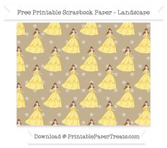 Free Landscape Khaki Star Large Belle Pattern Paper - Beauty and the Beast