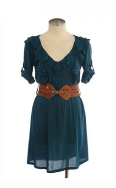 Ok, so I need to get a big chunky brown belt, and a big chunky black belt . . . lets start with brown . . . I have a summer dress similar to this, but with boots and a cardi you could make this a cute fall look, too.