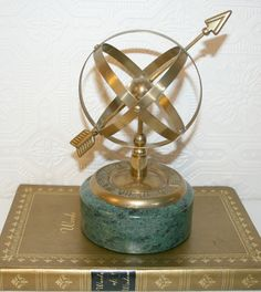 Armillary Sphere Sundial Brass and Marble by AnnieBananniesShop, $70.00
