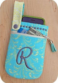 In The Hoop :: Cell Phone Pouch - Embroidery Garden In the Hoop Machine Embroidery Designs