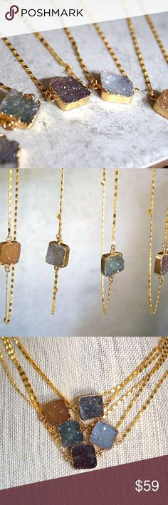 Gold Crystal Necklaces Selling five beautiful handmade geode necklaces. All come with 16-inch chains coated in 18k gold. Each druzy crystal has a distinct shade: there are four dark purple, and one light lavender-gray. No trades. Price is firm. Jewelry Necklaces