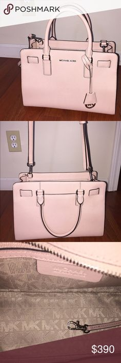 Michael Kors Purse  Authentic. VERY RARE THEY DONT SELL THIS COLOR ANYMORE. Michael Kors top zip Dillon. It is in pristine condition. Not a flaw. I have it in storage with a dust bag. Elegant box shape. Size medium. It's actually a very pale pink! Almost nude. Goes with any outfit! Will ship in time for Christmas ! Includes dustbag! Any questions? Ask away!! Open to offers. Michael Kors Bags