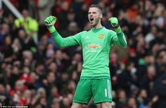 Red Devils goalkeeper De Gea, who replaced Sergio Romero on his return from injury, celebrates Rashford's first goal of the afternoon