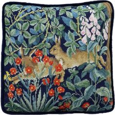 Hares among foliage and flowers.