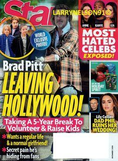 STAR MAGAZINE DECEMBER 7 2020 BRAD PITT MOST HATED ANNE KANYE LEA LILY COLLINS Star Magazine, December 7, Wedding With Kids, Lily Collins, Brad Pitt, Magazines, Hate, Hollywood, Celebs