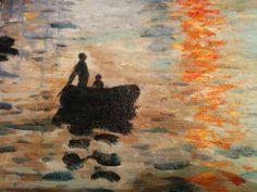 """Copia di """"Impressione levar del sole"""" di Monet"""". Dettaglio del dipinto realizzato dagli artisti di Tutti Quadri http://www.tuttiquadri.it/monet/impressione-levar-sole.htm"""