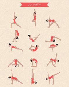 Letöltés - Kézzel karakter nő, jóga, a design. Női sziluett jóga pózok készlet — Stock Illusztráció #74036769