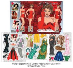 Ava Gardner Paper Dolls and Fashions from her Films by David Wolfe  2 of 2