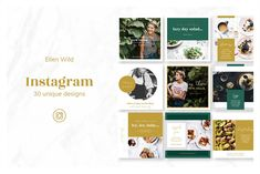 Ellen Wild / Instagram Sqaure Posts Pack, created for Bloggers, Creatives, Enterprenuers, Magazines, Lifestyle or Fashion brands. Preview of pack is made for Food Blogger with all free pictures and free fonts included.  30 fresh and unique designs are optimised for InDesign & Photoshop). #social, #media, #socialmediapack, #photoshoptemplate, #indesigntemplate, #template, #socialpacktemplate, #foodblogger, #blogger, #quotes
