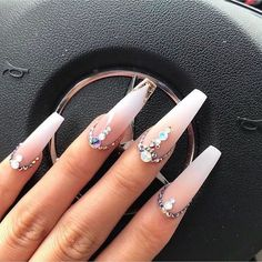 50 Pretty Nail Designs Ideas for 2019 - Uñas hermosas Gem Nails, Aycrlic Nails, Diamond Nails, Dope Nails, Stiletto Nails, Nails With Diamonds, Coffin Nails, Ongles Bling Bling, Rhinestone Nails