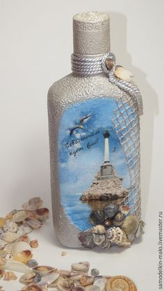 Need our Ponce Inlet lighthouse photo here Glass Bottle Crafts, Wine Bottle Art, Diy Bottle, Bottle Box, Decoupage Glass, Decoupage Art, Jar Crafts, Shell Crafts, Altered Bottles