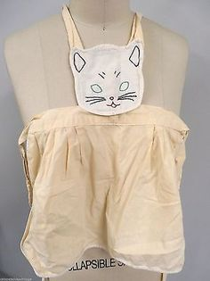Adorable Antique 1920s Childs Bib Apron Cat Kitty Embroidered