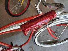 Retro Red Metal flake Handlebar Grips retrofitted to a 1963 Schwinn American Deluxe. S10 Truck, Old Bikes, Old Things, Bicycle, American, Metal, Bicycles, Red, Old Motorcycles