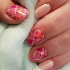 Jamberry Prissy Plaid with TruShine We're Blushing. Love this combo!!