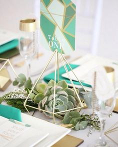 "The May 14 person is great at expressing their ideas in different creative venues, which makes planning a wedding with details like these ""Deep Mint"" geo details so splendid. 