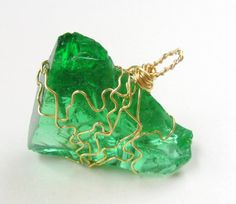 Pendant Wire Wrapped Green Kryptonite Glass ready to ship