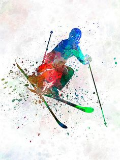Woman skier freestyler jumping 8x10 in 20x25 cms by SPPRINTS