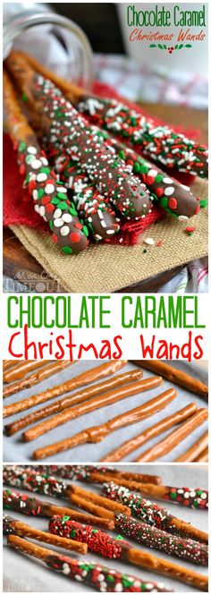 These Easy Chocolate Caramel Christmas Wands are a breeze to make and look perfe., Desserts, These Easy Chocolate Caramel Christmas Wands are a breeze to make and look perfectly festive! Great for gift giving, parties, and more! Holiday Snacks, Christmas Snacks, Christmas Cooking, Christmas Goodies, Holiday Recipes, Christmas Parties, Christmas Deserts For Kids, Easy Christmas Baking Recipes, Christmas Treats For Gifts