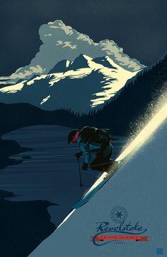 Retro Revelstoke ski print / poster/ by ArtBySassanFilsoof on Etsy