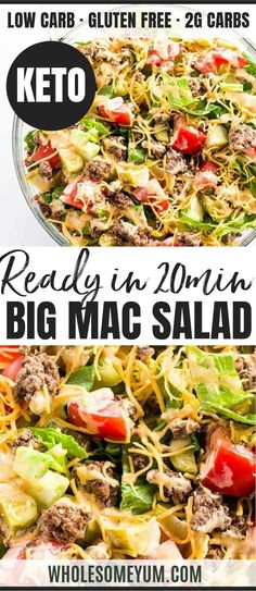 This easy low carb Big Mac salad recipe is ready in just 20 minutes! A gluten-free keto cheeseburger salad recipe like this makes a healthy lunch or dinner. This easy low carb Big Mac salad recipe is ready in just 20 minutes! A gluten-free keto cheeseburg Salad Recipes Low Carb, Diet Recipes, Healthy Recipes, Dinner Salad Recipes, Carp Recipes, Low Carb Summer Recipes, Salad Recipes Gluten Free, Yogurt Recipes, Kitchen Recipes