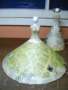"""Diy Crafts - Great idea for DIY tree topper: """"dress form"""", cone, and head (use masking tape if need be). Paper Mache Projects, Paper Mache Clay, Paper Mache Sculpture, Paper Mache Crafts, Clay Crafts, Clay Art, Clay Clay, Art Projects, Bottle Art"""