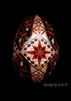 Etched Diamonds and Flowers Pysanky Pysanka Ukrainian Easter Batik Egg Art
