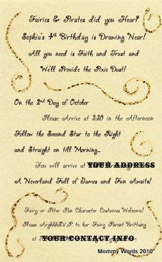 Peter Pan and Tinkerbell Party Invitation