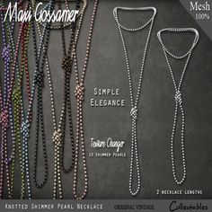 Maxi Gossamer ▲ Knotted Shimmer Pearl Necklace ▲ 10 pearl colors included ▲ 2 necklace lengths included ▲ 188L