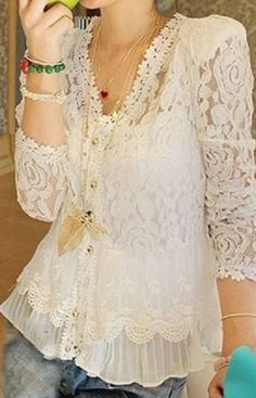 Elegant Openwork Long Sleeves Flouce White Lace Blouse For Women #White #Lace #Blouse
