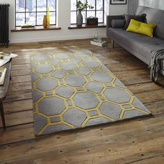 Think Rugs Hong Kong Hand Tufted Floor Rug, Grey and Yellow
