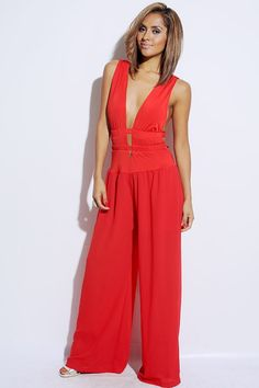 #1015store.com #fashion #style bold red cut out cage chiffon wide leg evening party jumpsui
