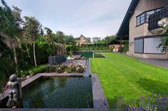 un grand jardin japonais dans l'arrière-cour avec une petite piscine naturelle