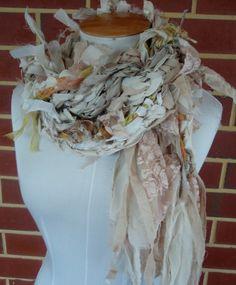 raggedy cotton lace silk mix hand crocheted scarf por plumfish