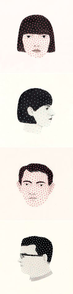 The odd little dots on these lovely little portraits by Rachel Levit totally make it.