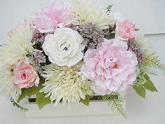 Silk Flower Arrangement in Whitewashed Basket Table Decor | eBay