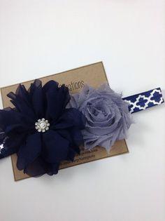Navy Blue Headband Silver Quatrefoil & Gray Navy by turniptots