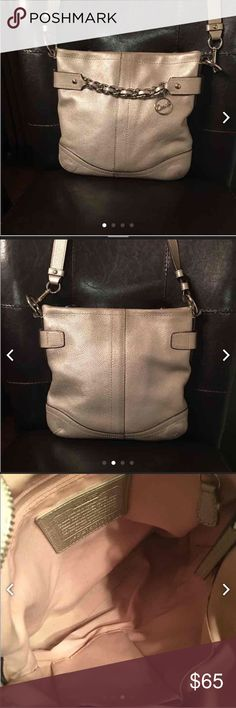 Coach Silver Leather Chain Duffle Medium size in very good condition Coach Bags Shoulder Bags