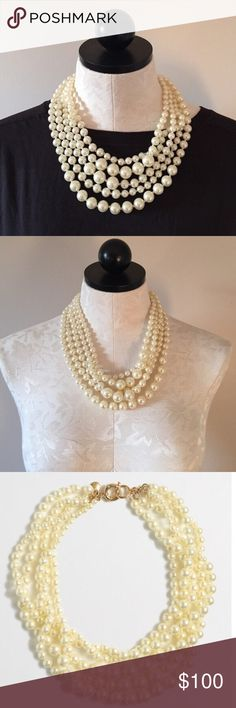 """NWT J. Crew Multi Strand Pearl Necklace! Statement. Sophisticated. Sexy. NWT J. Crew multi-strand pearl necklace. Acrylic pearls. Length: 21"""". Comes with J. Crew dust pouch. 🚫TRADES. J. Crew Jewelry Necklaces"""