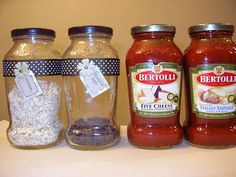 Old Spaghetti Jars Thrifty and Chic - DIY Projects and Home Decor Reuse spaghetti sauce jars to store other pantry items after redecorating them for their new roles! Bottles And Jars, Glass Jars, Mason Jars, Liquor Bottles, Candle Jars, Crafts To Do, Arts And Crafts, Decor Crafts, Do It Yourself Baby
