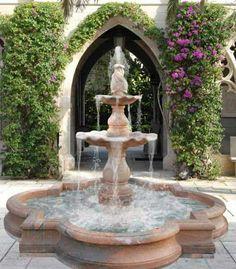 aristocratic garden fountains creeping flowers