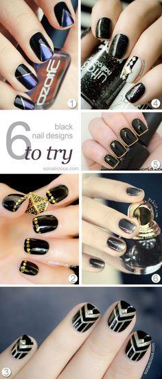 6 Black Nail Designs to Try. Click for more nail art ideas. #nailart #black