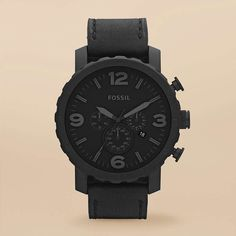 FOSSIL® : Nate Stainless Steel and Leather Watch – Black JR1354