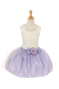 Lilac Lace Taffeta and Tulle Flower Girl Dress