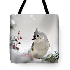 "Tufted Titmouse Square Tote Bag by Christina Rollo (18"" x 18"").  The tote bag is machine washable, available in three different sizes, and includes a black strap for easy carrying on your shoulder.  All totes are available for worldwide shipping and include a money-back guarantee."