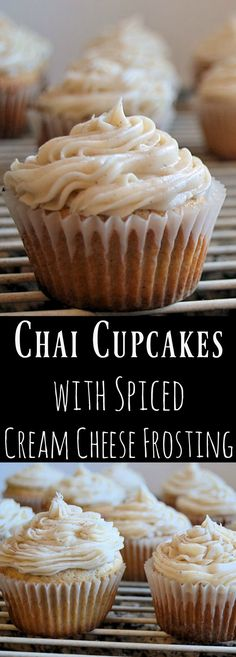If you love unique cupcakes, these Chai Cupcakes with Spiced Cream Cheese Frosting will be a new favourite! The spicy flavours of the tender cupcakes blend perfectly with the tangy cream cheese frosting. Just the best cupcakes in the world! Chai Cupcake Recipe, Easy Cupcake Recipes, Cupcake Flavors, Frosting Recipes, Winter Desserts, Köstliche Desserts, Delicious Desserts, Dessert Recipes, Unique Desserts