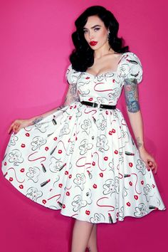 b958b5f92ffd9 50s Vixen Lipstick Swing Dress in White
