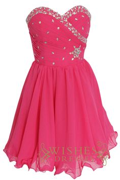 2015 a-line Hot Pink Chiffon Short Prom Dress Am135