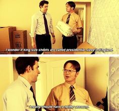 """Brothers of no relation. Dwight and Jim :)>>I love it but they messed up the caption dwight says Twitter like """"tweeter"""" and then Jim makes a face at the camera"""