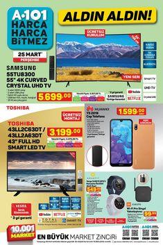 """25 Mart ve 31 Mart 2021 tarihleri arasında A101 marketlerde geçerli """"Aldın Aldın"""" broşürü 9 sayfadan oluşmaktadır. A101′ in 25 Mart tarihli broşüründe Samsung 55″, Toshiba 58″, 55″ ve 43″, Smart Led TV, Huawei Cep Telefonu, Amazfit Akıllı Saat, Xiaomi Wi-Fi Sinyal Yakınlaştırıcı, SEG Çamaşır Makinesi, Bulaşık Makinesi ve Buzdolabı çeşitleri, Samsung Mikrodalga Fırın, Arzum Blender Seti, pek çok giyim ve gıda ürünü yer almaktadır. #a101 #a101market #aktüelürünler #broşür #katalog #indirim Wi Fi, Samsung, Marketing, Youtube, Mart, Building Information Modeling, Youtubers, Youtube Movies"""