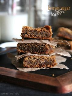 Brown Sugar Toffee Bars made with Heath bits! #cookiehq